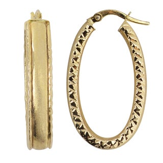 Fremada Italian 14k Yellow Gold Satin and Diamond-cut Bold Oval Hoop Earrings
