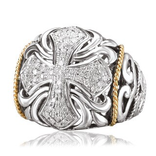 Avanti Sterling Silver and 18K Yellow Gold 1/5 CT TDW Diamond Filigree with Cross Design Statement Ring (I-J, I1-I2)