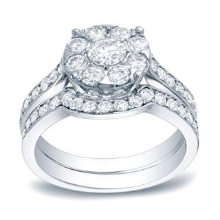 Auriya Platinum 1 3/5ct TDW Certified Round Diamond Cluster Bridal Ring Set