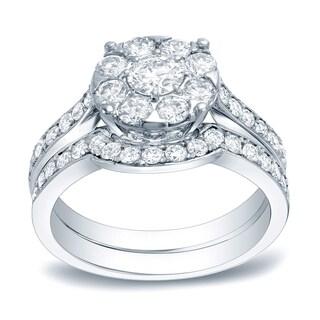 Auriya Platinum 1 3/5ct TDW Certified Round Diamond Cluster Bridal Ring Set (H-I, SI1-SI2)