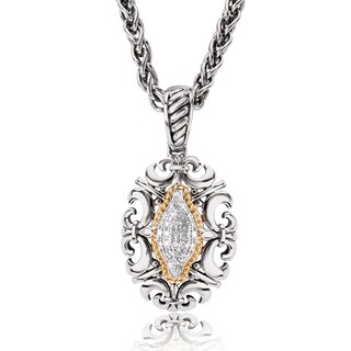 Avanti Sterling Silver and 18K Yellow Gold 1/8 CT TDW Diamond Oval Shape Filigree Pendant Necklace (I-J, I1-I2)