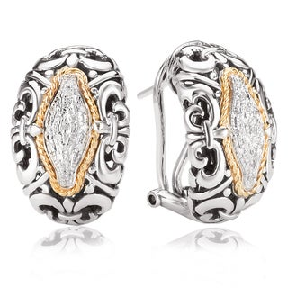 Avanti Sterling Silver and 18K Yellow Gold 1/8 CT TDW Diamond Omega Clip Earrings (I-J, I1-I2)
