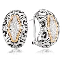 Avanti Sterling Silver and 18K Yellow Gold 1/8 CT TDW Diamond Omega Clip Earrings