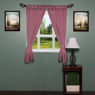 Polyester 34-inch x 54-inch Diamond-pattern Bathroom Window Curtain Panel Pair withTie Backs