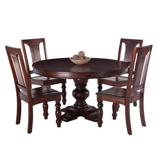 Pearl Grove Solid Mango Wood Round Dining Table and Set of 4 Mango Wood Dining Chairs