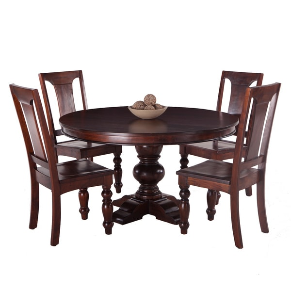 shop pearl grove solid mango wood round dining table and set of 4 mango wood dining chairs. Black Bedroom Furniture Sets. Home Design Ideas