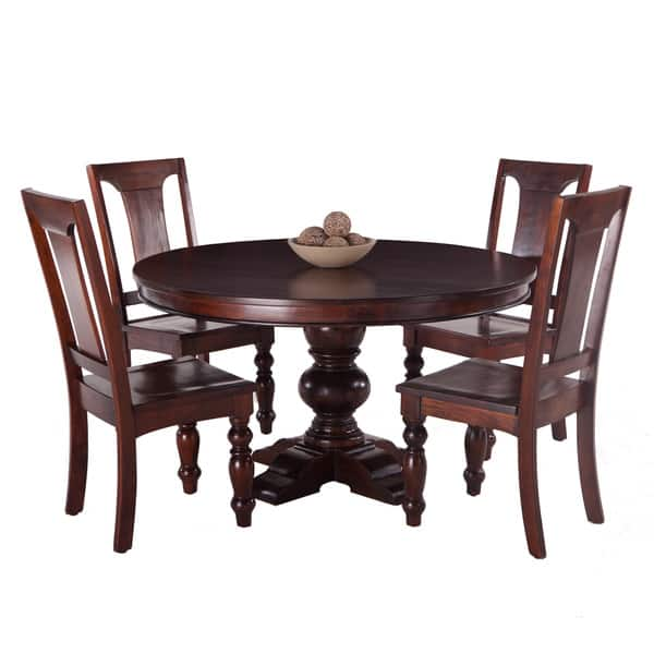 Shop Pearl Grove Solid Mango Wood Round Dining Table and Set ...
