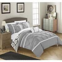 Chic Home 4-Piece Avee Grey Comforter 3 Piece Set