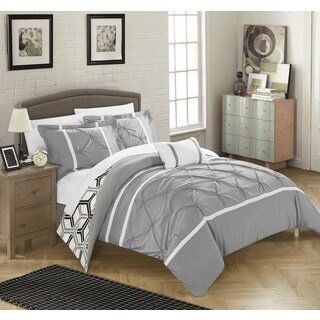 Chic Home 4-Piece Avee Grey Comforter 3 Piece Set