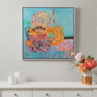 Madison Park Bohemian Posies Aqua Hand Embellished Canvas With Frame
