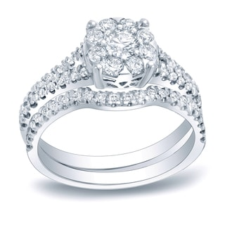 Auriya Platinum 3/4ct TDW Diamond Cluster Bridal Ring Set (H-I, SI1-SI2)