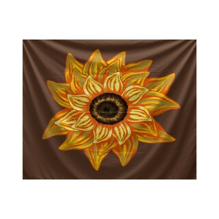 El Girasol Feliz Brown/Beige/Yellow Polyester 50-inch x 60-inch Floral-print Tapestry