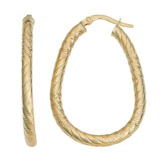 Fremada 14k Yellow Gold Diamond-cut Oval Hoop Earrings