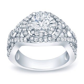 Auriya Platinum 1 1/2ct TDW Diamond Halo Engagement Ring