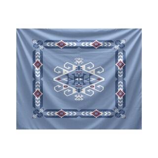 E by Design Jodhpur Border 3 Blue/Grey Polyester 50-inch x 60-inch Geometric-print Tapestry