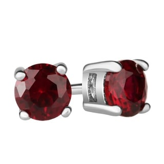 Sterling Silver Created Ruby Round Stud Earrings