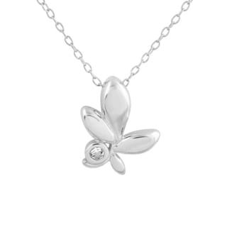 Sterling Silver White Topaz 18-inch Triple Leaf Flower Pendant Necklace