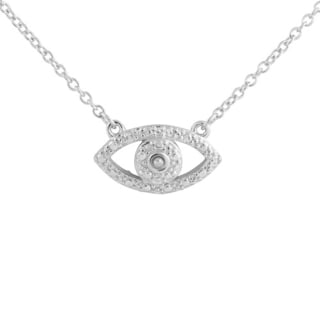 .925 Sterling Silver and White Topaz Evil Eye 18-inch Necklace