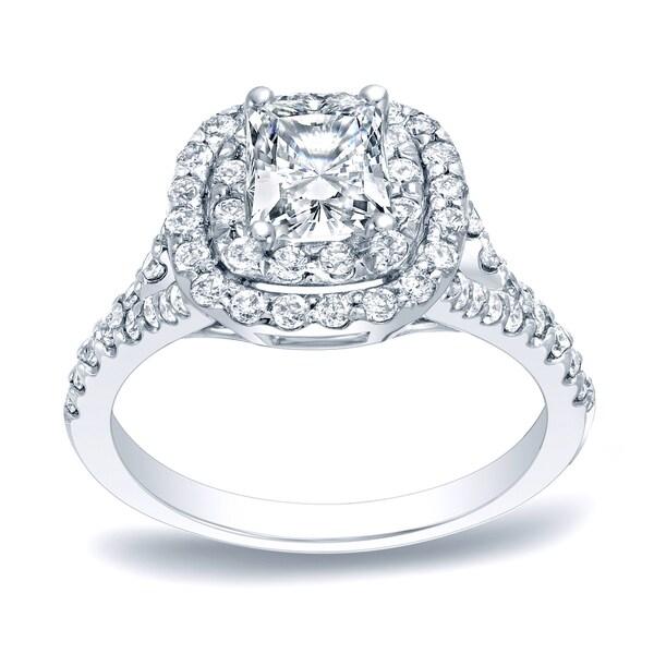 Auriya Platinum 1 1/4ct TDW Cushion-cut Diamond Halo Engagement Ring