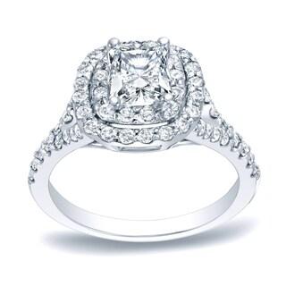 Auriya Platinum 1 1/4ct TDW Cushion Double Halo Diamond Engagement Ring (H-I, SI1-SI2)