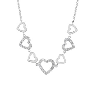 Women's Rhodium-plated Sterling Silver Cubic Zirconia Hearts Chain Necklace