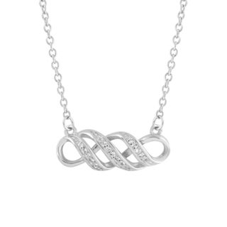 Silvertone Sterling Silver White Topaz Twisted 18-inch Infinity Necklace