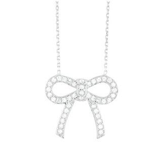 Sterling Silver Cubic Zirconia Flat Bow 18-inch Necklace