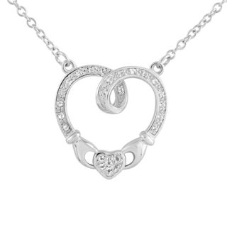 Sterling Silver White Topaz 18-inch Claddagh Heart Necklace