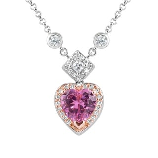 Sterling Silver Cubic Zirconia Pink Heart Drop Necklace