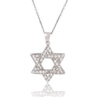 Sterling Silver Cubic Zirconia 18-inch 'Star of David' (Magen David) Pendant Necklace