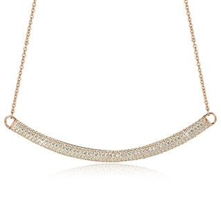 Sterling Silver Cubic Zirconia 18-inch Curved Bar Necklace