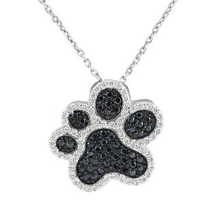 Sterling Silver Black and Clear Cubic Zirconia 18-inch Dog Paw Pendant Necklace