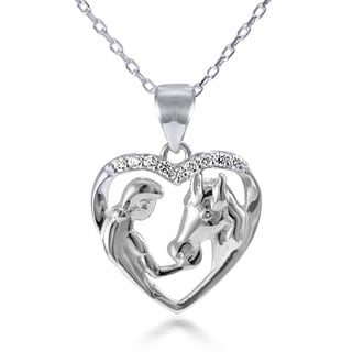 Sterling Silver White Topaz 18-inch Girl Feeding Her Horse Open Heart Pendant Necklace