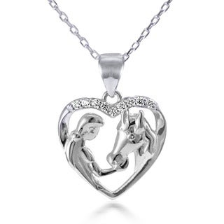 Sterling Silver White Topaz 18-inch Girl Feeding Her Horse Open Heart Pendant Necklace