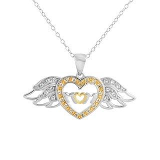 Women's Mom Sterling Silver White Topaz 18-inch Heart with Angel Wings Pendant Necklace