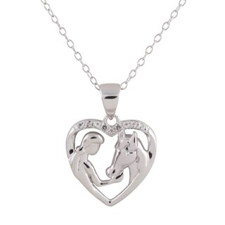 Sterling Silver Diamond Accent and White Topaz Girl Feeding Her Horse 18-inch Pendant Necklace
