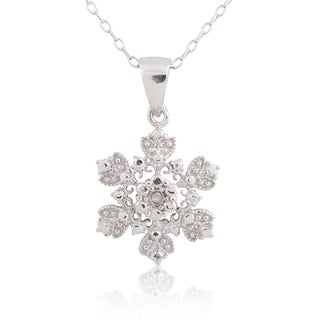 Sterling Silver Diamond Accent Flower Pendant 18-inch Necklace