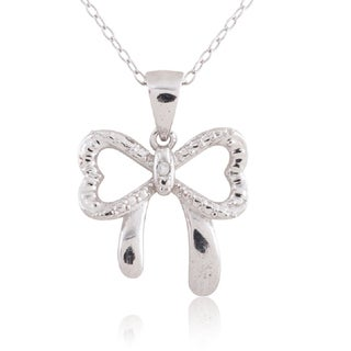 Sterling Silver Diamond Accent Heart Shaped Bow Pendant 18-inch Necklace