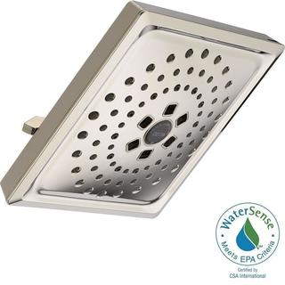 Delta 3-Spray 7-5/8 in. H2OKinetic Square Raincan Showerhead in Polished Nickel 52684-PN