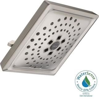 Delta 3-Spray 7-5/8 in. H2OKinetic Square Raincan Showerhead in Stainless 52684-SS