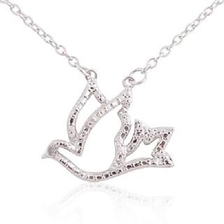 Sterling Silver Diamond Accent 18-inch Dove Pendant Necklace