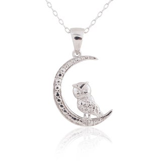 Sterling Silver Diamond Accent Owl-on-moon 18-inch Pendant Necklace