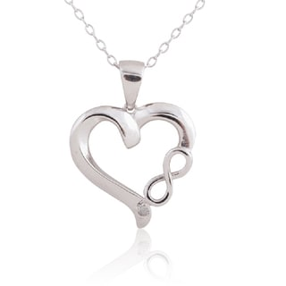 Sterling Silver 18-inch Diamond-accent Infinity Heart Pendant Necklace