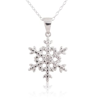 Sterling Silver Diamond Accent 18-inch Snowflake Pendant Necklace
