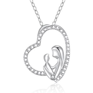 Sterling Silver Diamond-accent 18-inch Mother and Child Pendant Necklace