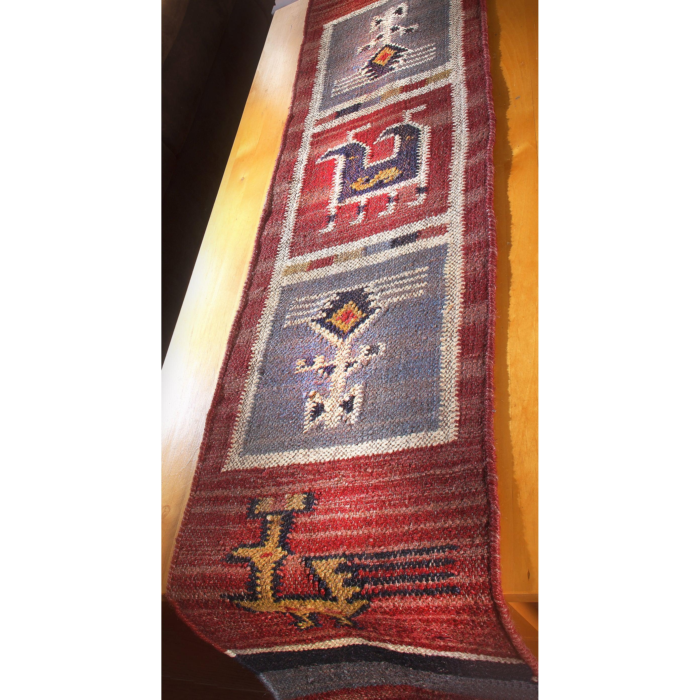 "Tribal 13x72"" Flat Weave Table Runner, Blue (Cotton)"