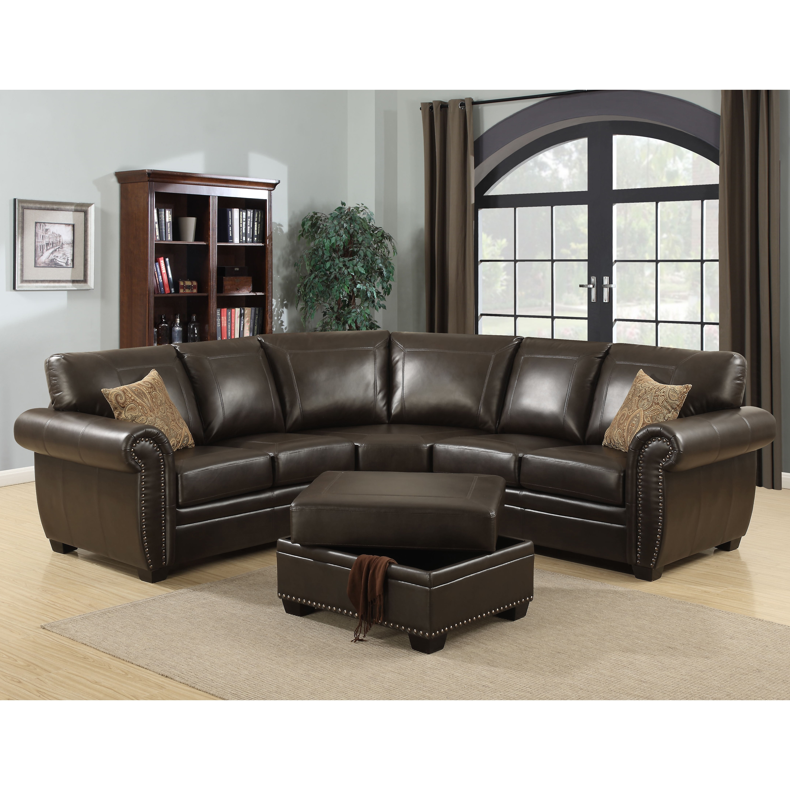Ac Pacific Louis 3 Piece Brown Living Room Sectional With Ottoman