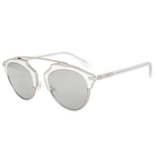 Christian Dior SoReal RMRLR Sunglasses Matte Silver Frame Grey w/ Silver Mirror Lens