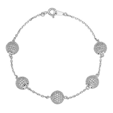 Suzy L. Sterling Silver Cubic Zirconia Pave Ball Linked Bracelet - White