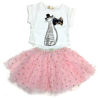 Haley Boutique Fashion Kids Girl Kitten Tee and Tulle Tutu Skirt Set